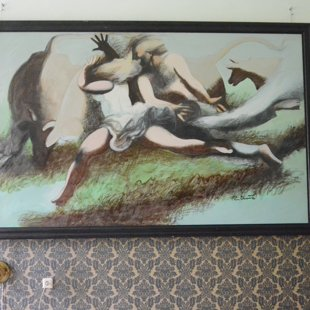 """Pēteris Postažs (1940) """"Rumulēšanās"""", 1976. Kartons, eļļa, 175x270 cm. LMS muzejs"""