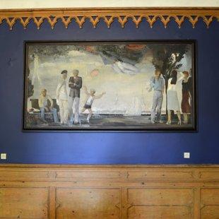 """Roberts Muzis (1944) """"Svētki"""", 1982. Audekls, eļļa, 125x250 cm. LMS muzejs"""